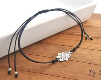 Sterling Silver Hamsa Bracelet rosette, Hamsa Charm, Hamsa Silver, Hamsa Pendant, Hand of Fatima Bracelet, Protection Bracelet, hand amulet