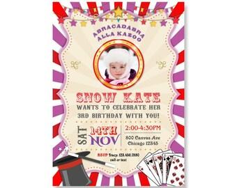Magic Party Invitation. Magic Birthday Invitation. Magic Invitation. Magician Invitations. Girls Carnival Party Invite. Carnival Circus 310