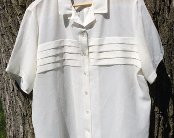 Vintage 70s Cream Short Sleeved Blouse, Tan Flay, Size 16, white button, work, plus size