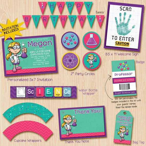 Girl Science Party Invitation & Printable Decorations. Blonde scientist. Invitation included. Everything you need!