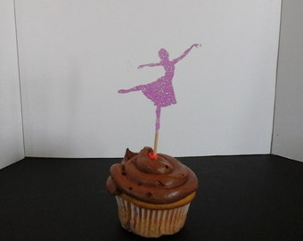 Birthday  Cake or Cupcake Toppers Set of 12...Ballerina in Glitter-choose your Color