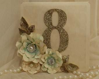 Mint and gold table numbers, table cards, glitter table numbers. wedding decorations