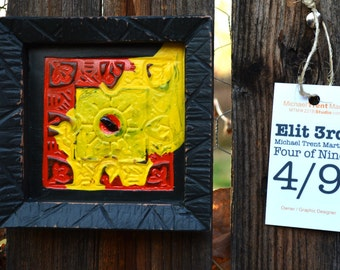 Elit 3rd Series, of 9, Abstract Acrylic Painting and Frame on Plaster Tile, Wall Art, 5 in x 5 in