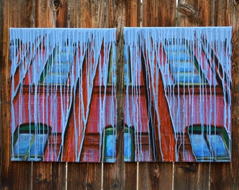Painted Building #1, Abstract Acrylic Painting on Canvas, 16in x 20in each on 2 canvases, Unique Art, Wall Hanging