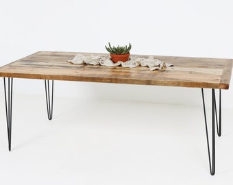 Wood Dining Table, Salvaged Wood, set on hairpin legs, Handmade in Berlin, Kentholz