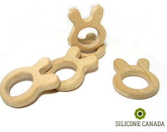 Natural Wood Teether - Rabbit. High-Quality Untreated Wood Teething Toy/Pendant.  DIY Supplies for Safe Teething Necklace.