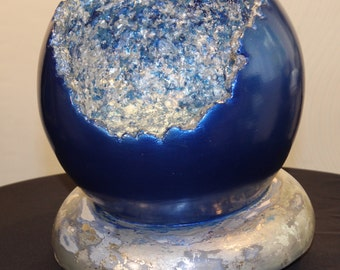 Midnight Blue Geode Bowl with Antique Silver Base and Interior