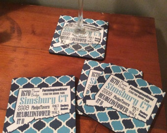 Coaster Set - I love Simsbury CT set