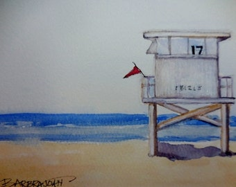Beach Watercolor, Original Watercolor, ocean scene