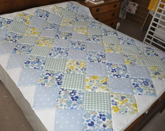 Patchwork Quilt SALE, Vintage Style Handmade Patchwork Quilt, Double Bed Patchwork Quilt, Blue Lemon Patchwork Quilt, Large Quilt! SALE