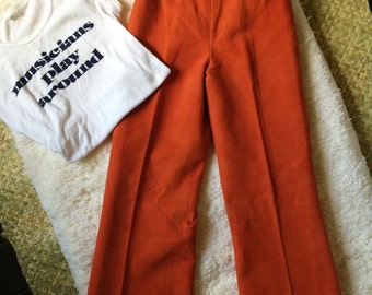 SALE 1970s High Waisted Orange Suede Flared Pants XS