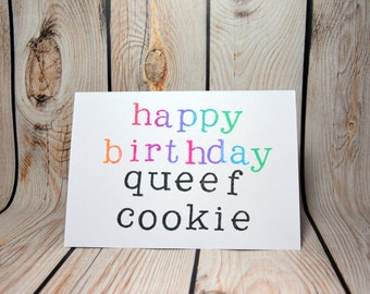 Happy birthday queef cookie- rude birthday card party supplies for friend, girlfriend,wife or sister but with caution!