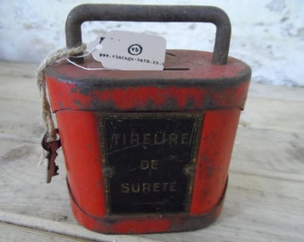 Old French Money tin with original key