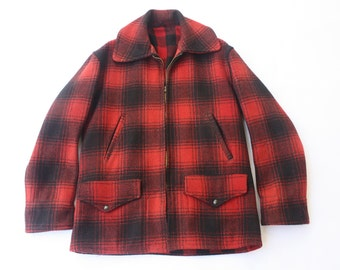 Vintage 1950's Buffalo Plaid Mackinaw Hunting Coat Size M-L// Woolrich Style