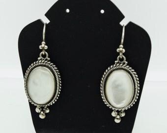 Silver Mother of Pearl drop earrings  SKU710