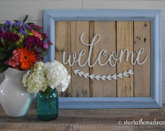FINISHED Reclaimed Wood Welcome Sign