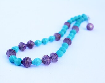 Chunky Light Teal & Dark Purple Paper Bead Necklace | Made By Yahaira