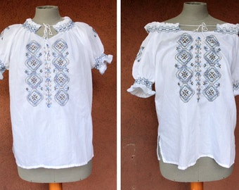 1970's Greek  Embroidered Boho Top / 70's Greek Peasant Off Shoulder Blouse