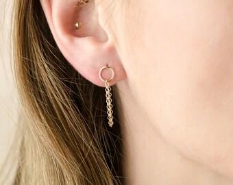 Circle Stud Earrings chain stud earrings delicate circle studs simple everyday earrings minimal silver studs circle post earrings tiny studs