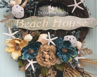 Beach Wreath,  Coastal Cottage Wreath, Beach House Wreath, Summer Wreath, Beach Decor, Coastal Decor, Designer Beach Wreath, Nautical Wreath