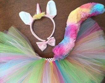 Rainbow Unicorn Tutu Costume. Halloween Costume School Book Day Adult and children's sizes