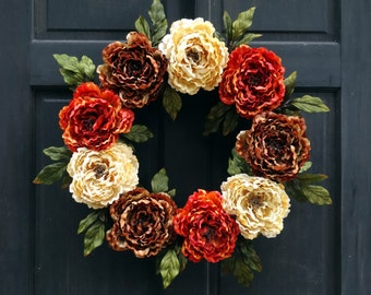 Fall Wreath for Front Door, Wreath for Fall, Thanksgiving Wreath, Fall Floral Wreath, Fall Peony Wreath, Fall Door Wreath, Autumn Wreath