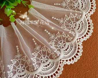 2 Yards Lace Trim Floral Embroidered Colorful embroidery Tulle Lace 4.72 Inches Wide High Quality  YL409