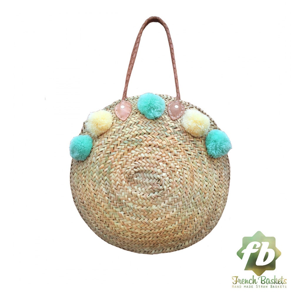 Wicker Basket With Pom Poms : Round wicker basket long leather handle pom french