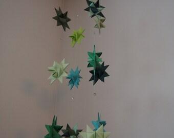 Baby Mobile Hanging Origami Stars , froebelstar mobile in green