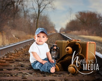 Baby Child Outdoor Rialroad Train Tracks with Teddy Bear Backdrop Scene - Digital Photography Background for Children - Instant Download