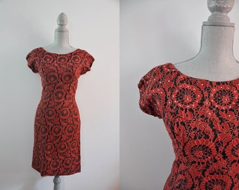Vintage 1950s dress | red and black lace wiggle dress • Amor dress