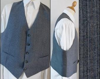 Mans  grey stripe vest waistcoat mans french vest waistcoat size large