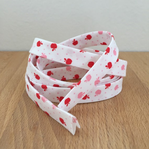 """Bias Tape in Kaufman Morningside Farm Pink and Red Apples and Polka Dots 1/2"""" Double-fold Cotton Binding- 3 yard roll"""