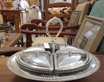 Silverplate Relish Glass Tray Serving Dish