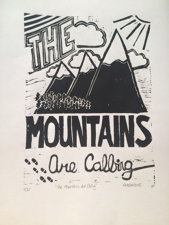 The Mountains Are Calling Linocut Limited Edition Print on Etsy