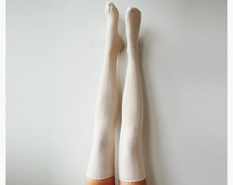Ivory Herringbone Thigh High Socks, PM-093I