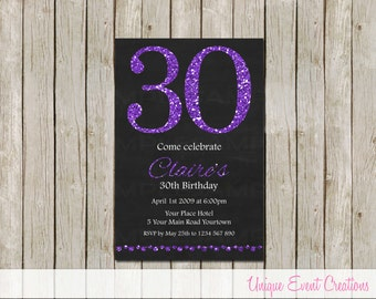 16th 21st 30th Adult Birthday Party Invitation Invite Purple Sparkle Glitter PRINT YOURSELF 6x4 Jpeg File
