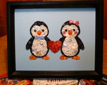 Penguin Couple ~ Handmade Button & Bead Wall Art with Swarovski Crystals ~ on 11x14 Painted Canvas ~ MADE TO ORDER