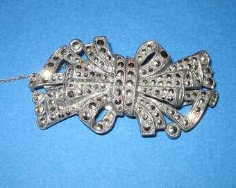 Marcasite Double Clip Brooch 1940