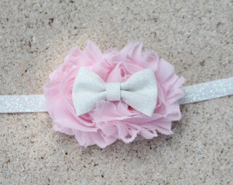 Baby Girl Headbands,Newborn Headband,Flower Girl Headband,Light Pink Headband,Pink Headband,Shabby Chic,Valentine Headband,Glitter Headband