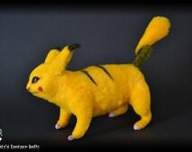 POKEMON Pikachu Soft sculpture, Handmade OOAK toy, stuffed Pikachu, Art Doll, Animal sculpture, Textile Taxidermy