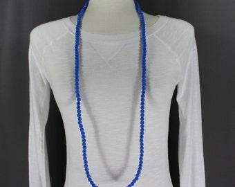 "Blue super extra long beaded necklace 44"" long double wrap strand college colors, kentucky wildcats, KU jayhawks"