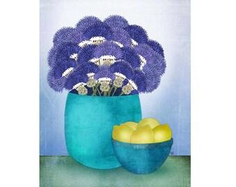 """Giclee Print of Modern Folk Art Botanical Still Life, """"Thistles and Lemons"""""""