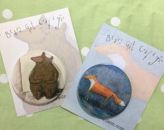 Tea Drinking Bear and Cunning Fox Badge or Fridge Magnet