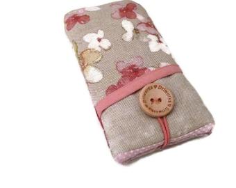 Lg v10 fabric case / LG V20 phone cover / Lg G4 case sleeve /  LG G3 pouch / LG G5 phone case -  Linen phone cover, Flowers pockets