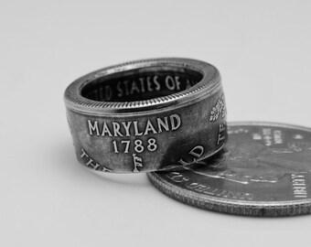 Hair Bead US Statehood Quarter - Maryland, Size 1-3/4, Clad