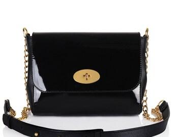 Leather Cross body Bag, Black Leather Shoulder Bag, Women's Leather Crossbody Bag, Leather bag KF-117