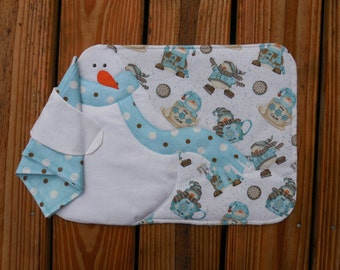 Handmade Appliqued Snowmen placemat/napkin set of 6