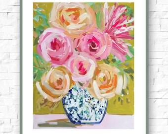Impressionist Art Print Art Impressionism Roses Abstract Floral Flower Pink Painting Impressionist Art