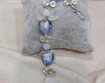 Heart Shaped Glass Bead Bracelet